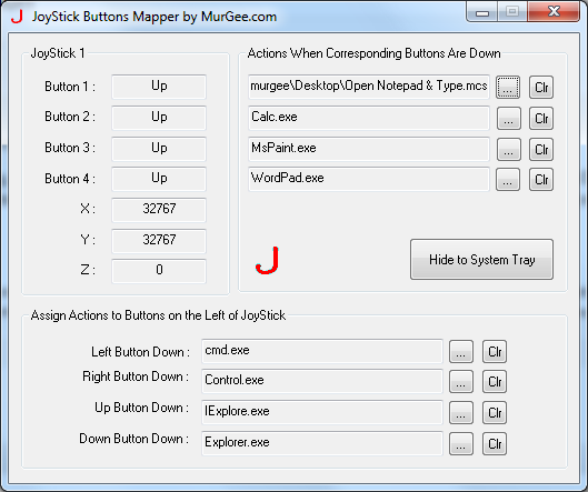 Default Screen of Joystick Buttons Mapper Software