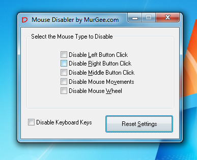 Disable Complete Keyboard and Mouse Functions with Mouse Disabler