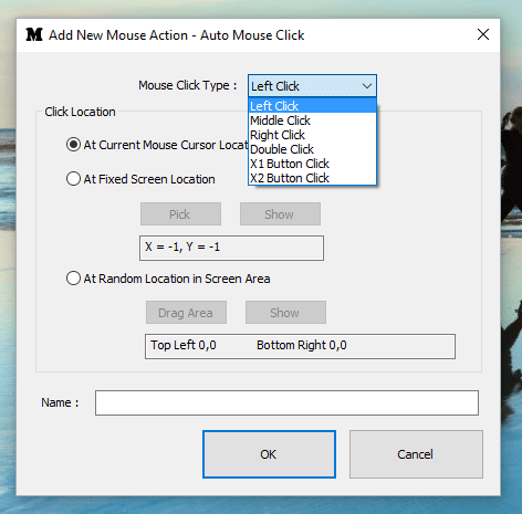 Add Mouse Action to Auto Clicker