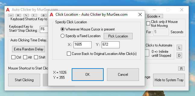 Automated Mouse Clicking Location