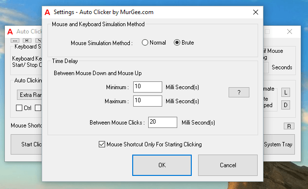 Configurable Time Delay between Mouse Down and Mouse Up making a single Mouse Click