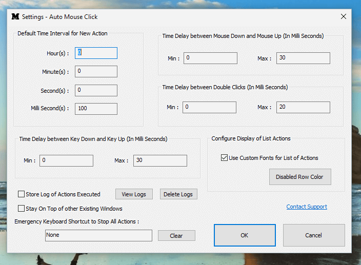 Configure Default Time Duration and other Parameters for Mouse Clickers